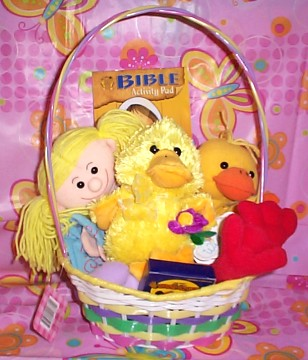 EASTBDKBK01   Easter Cutie Girl With Duck